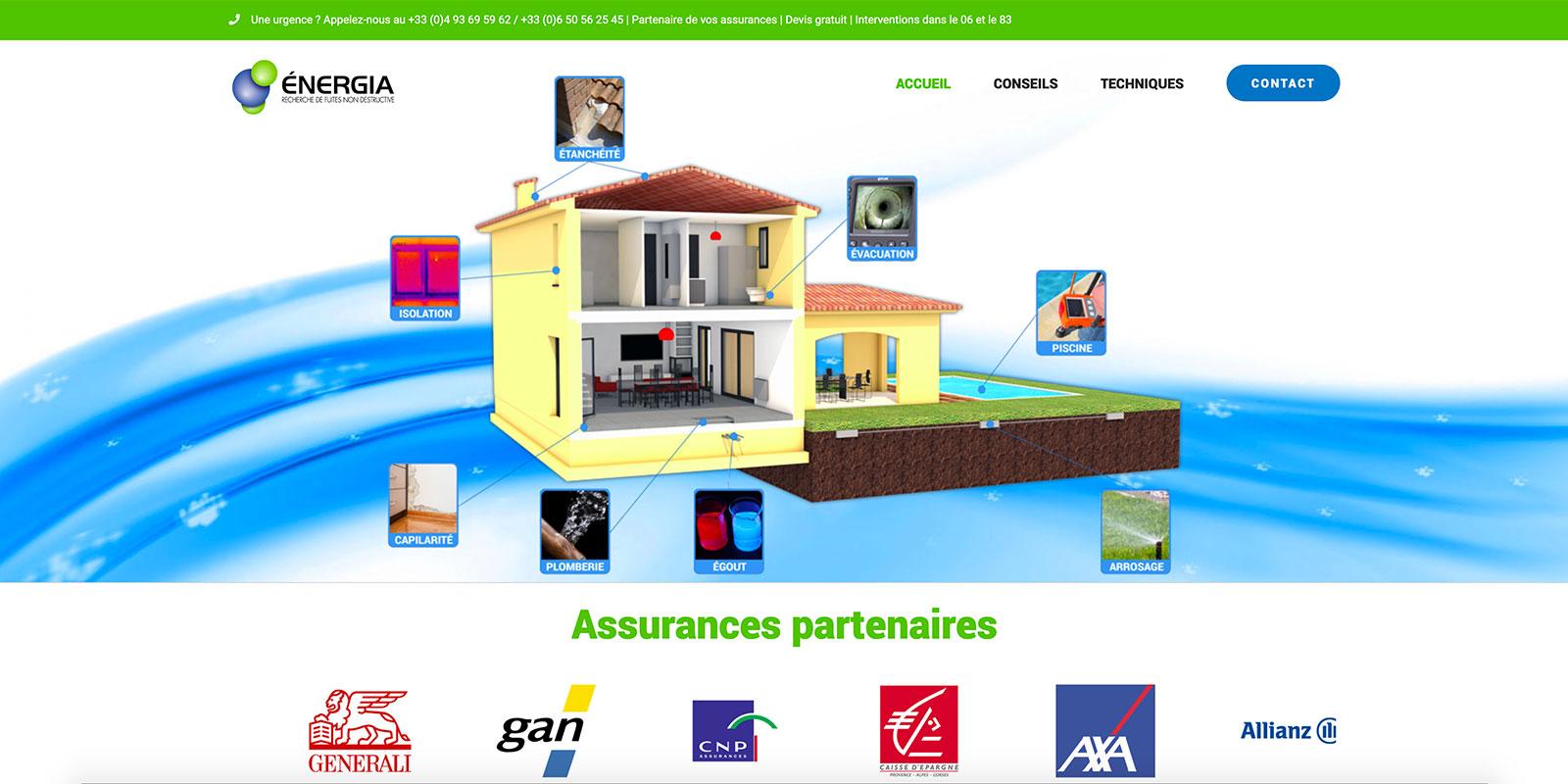 Référence - Site Énergia : recherche de fuites non destructive - Netcom Agency - Communication numérique