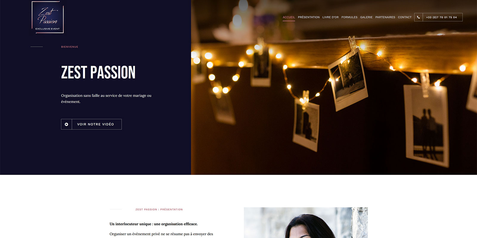 Référence - Zest Passion : organisation et coordination de mariage et événement privé haut de gamme - Netcom Agency - Communication numérique